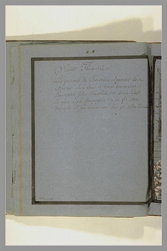 OUDRY Jean-Baptiste : Annotation manuscrite : saint Thimotée (sic)...