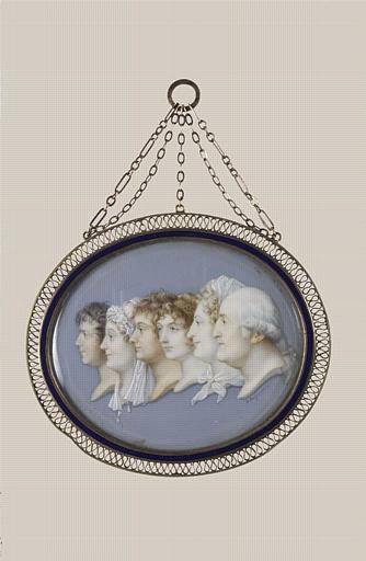 AUGUSTIN Jean-Baptiste Jacques : Six portraits en profil gauche, groupés, de la famille de l'artiste