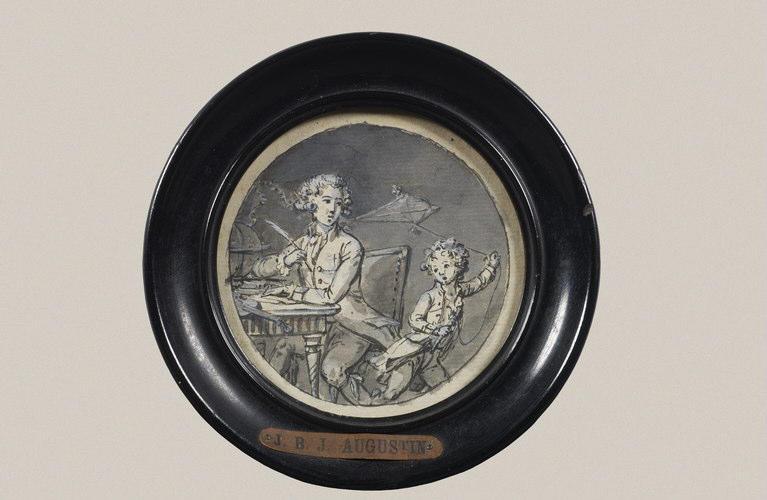 AUGUSTIN Jean-Baptiste Jacques : Portrait du mathématicien François Corbeau assis à une table