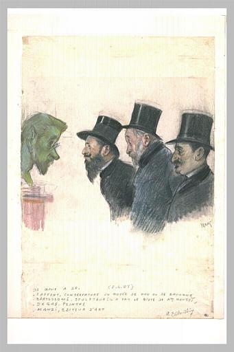 Trois hommes, contemplant la tête d'un homme barbu