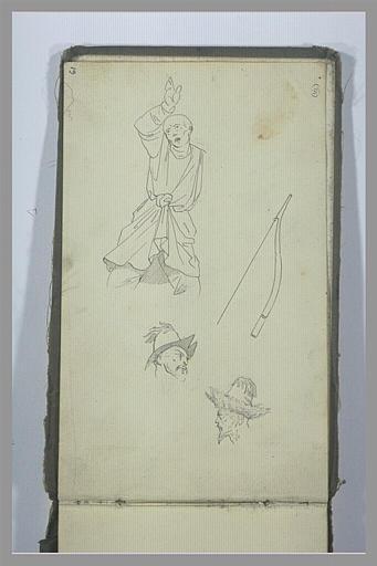 Un homme, à mi-corps, deux têtes d'hommes et un arc tatars