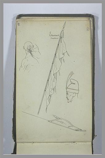 Etude d'un étendard, de têtes et carquois tatars