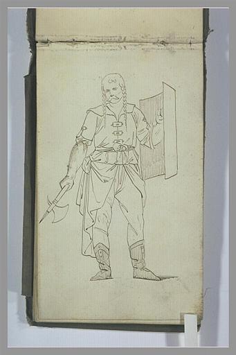 Un guerrier armé d'une francisque et d'un bouclier_0