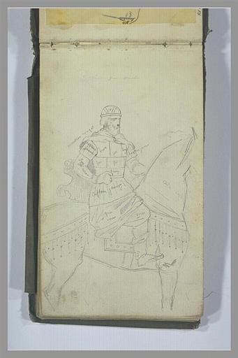 YVON Adolphe : Un cavalier sur un cheval harnaché