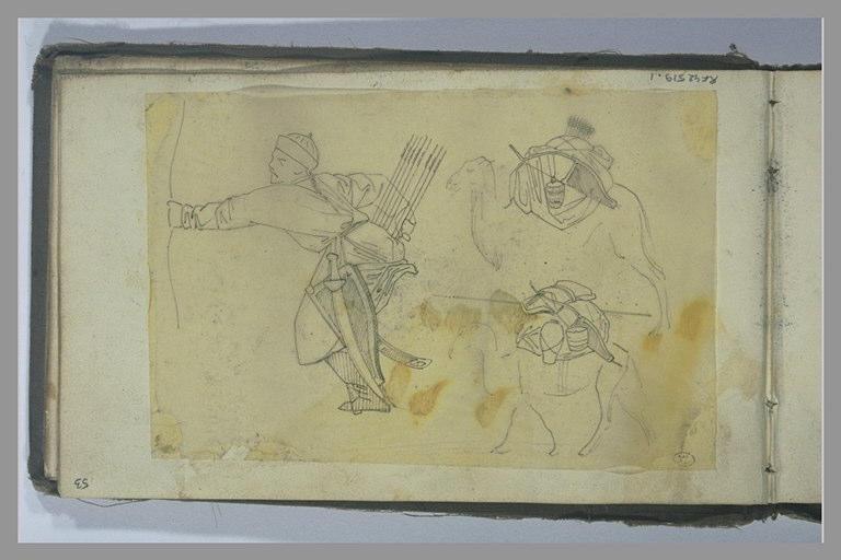 YVON Adolphe : Un guerrier armé d'un arc, deux chameaux