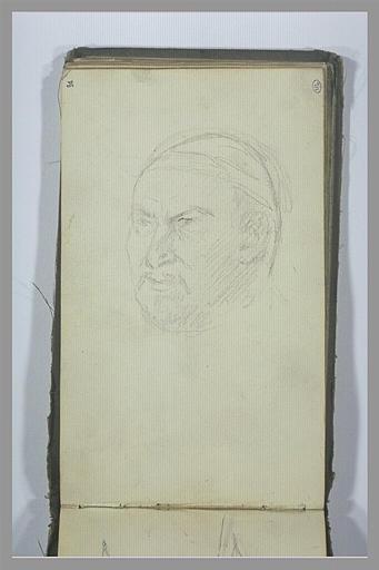 YVON Adolphe : Un tête d'homme, de trois quarts vers la gauche