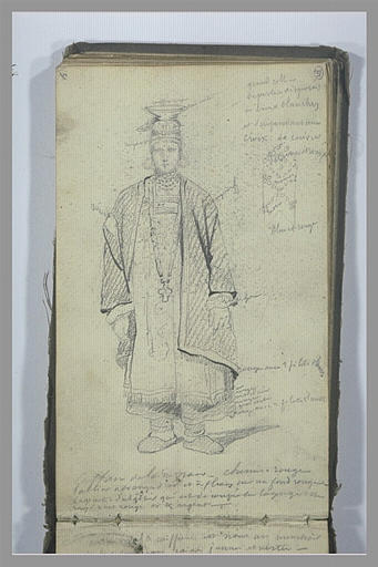 YVON Adolphe : Etude de costume féminin et notes manuscrites