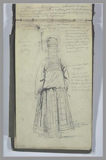 Etude de costume féminin et notes manuscrites
