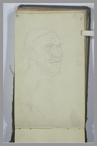 YVON Adolphe : Une tête d'homme, de trois quarts vers la droite