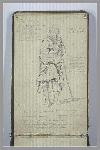 YVON Adolphe : Une figure, debout, appuyée sur un bâton, et notes manuscrites