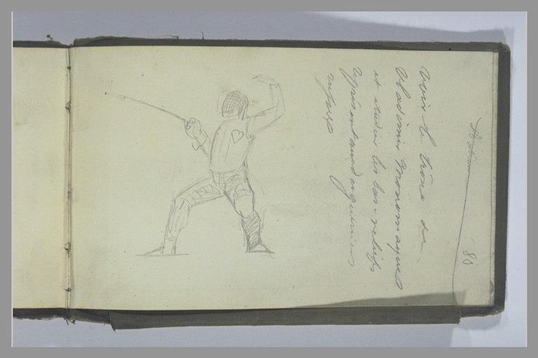 YVON Adolphe : Escrimeur, note manuscrite