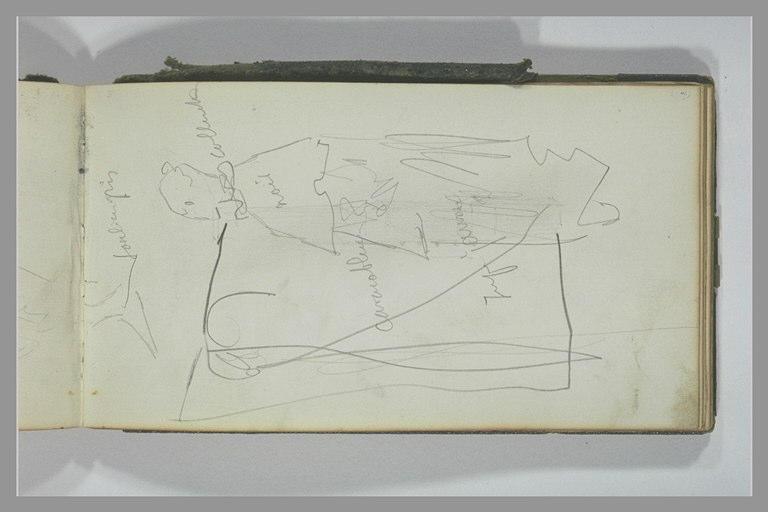 YVON Adolphe : Figure en costume, de profil, soulier