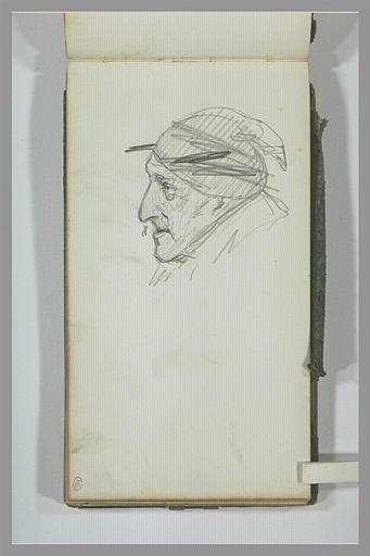 Tête d'homme portant un bonnet, de profil vers la gauche