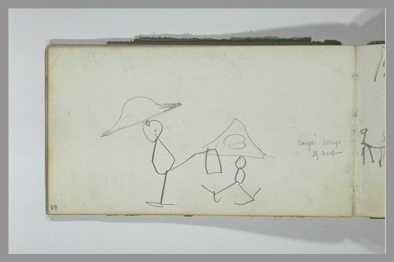 YVON Adolphe : Croquis enfantin représentant deux personnages