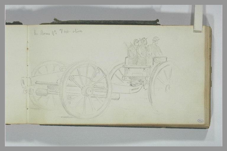 Soldats sur un chariot tirant un canon