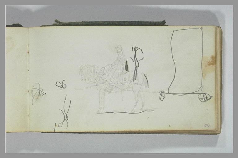YVON Adolphe : Soldat à cheval, croquis enfantins