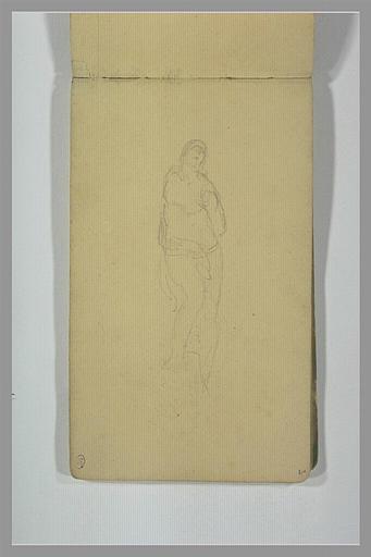 YVON Adolphe : Une figure, à demi nue, un pied sur un socle