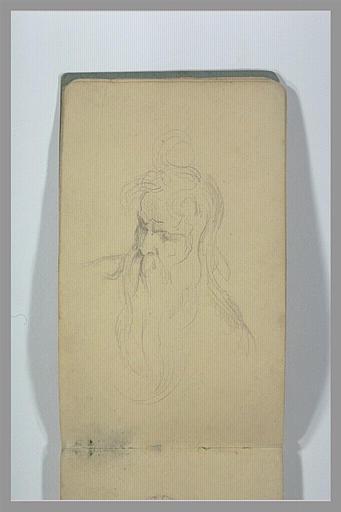 YVON Adolphe : Tête d'homme barbu, de trois quarts vers la gauche