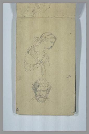 YVON Adolphe : Femme, vue en buste, de profil vers la droite, tête d'homme barbu, de face