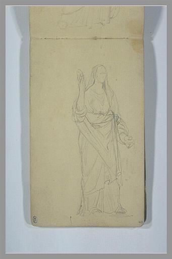 YVON Adolphe : Figure drapée, debout, levant le bras droit