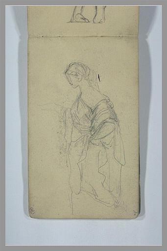 YVON Adolphe : Figure drapée, vue à mi-corps, de profil vers la gauche