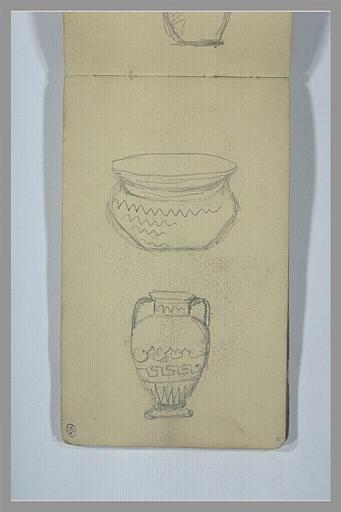 YVON Adolphe : Deux vases aux motifs géométriques