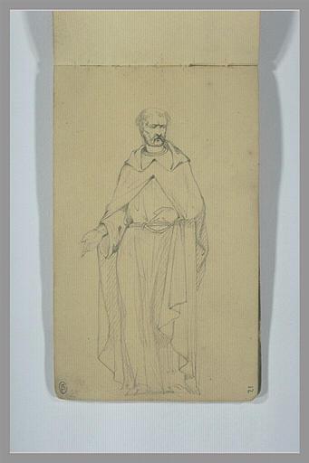 YVON Adolphe : Homme portant un long manteau, debout, tendant la main droite