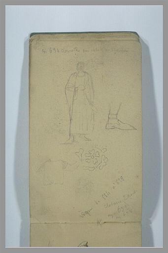 YVON Adolphe : Homme drapé debout, motif décoratif, pied chaussé, croquis, notes