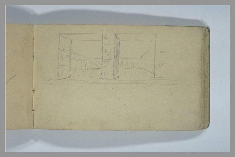 YVON Adolphe : Architecture vue par deux ouvertures séparées par un pilier