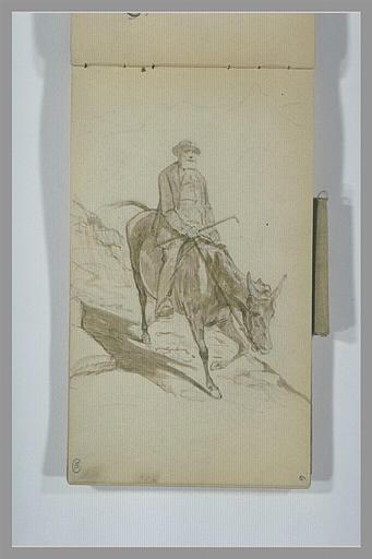 YVON Adolphe : Homme chevauchant un âne sur un chemin montagneux