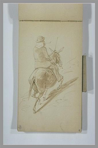 Homme chevauchant un âne sur un chemin montangeux, vus de dos