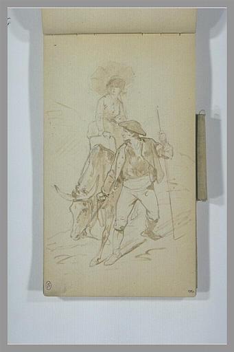 Paysan tenant un âne par la bride, sur lequel se tient une jeune femme_0