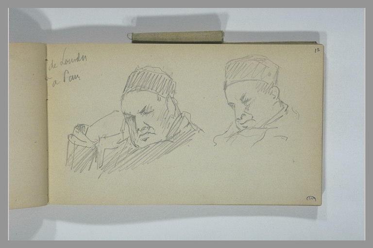 YVON Adolphe : Deux études d'un homme endormi, vu en buste