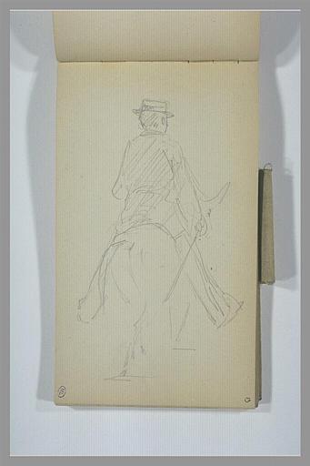 YVON Adolphe : Homme à cheval, vu de dos