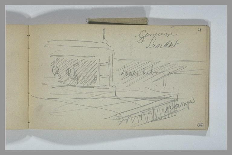 YVON Adolphe : Croquis de la partie inférieure d'une cheminée (?), et annotations