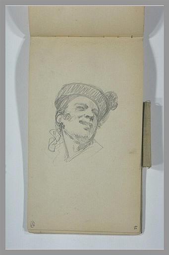 YVON Adolphe : Tête d'homme portant un chapeau