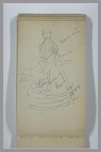 YVON Adolphe : Femme, debout, en costume