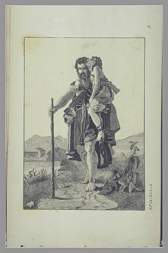 Homme agé marchant, s'appuyant sur un bâton, portant un adolescent