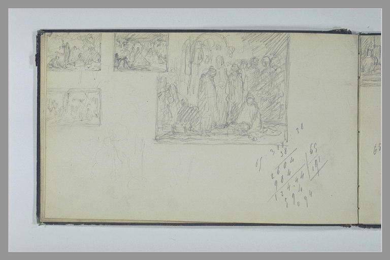 YVON Adolphe : Quatre études de compositions, calculs manuscrits, croquis