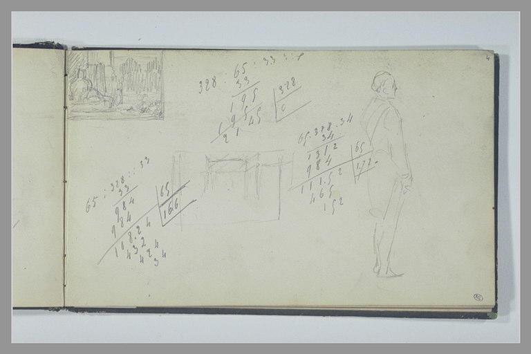 YVON Adolphe : Etude d'une composition, calculs manuscrits, figure, debout, de profil
