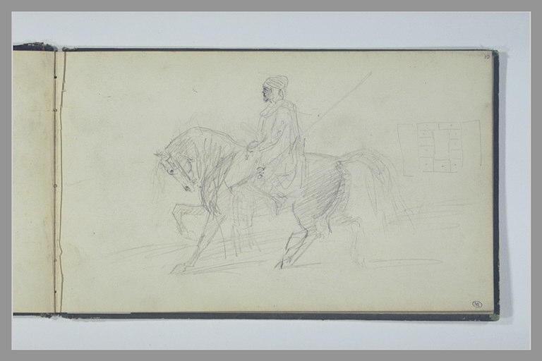 Cavalier arabe à cheval, vu de profil, vers la droite