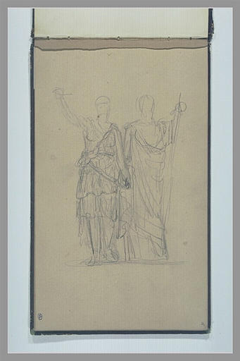 Deux figures, debout, vues de face, drapées à l'antique
