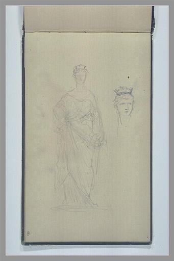 Femme, drapée à l'antique, une couronne crénelée sur la tête : Cybèle (?)