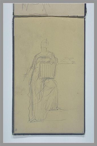 YVON Adolphe : Une femme drapée, debout, tenant une plaquette