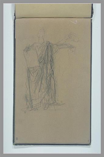Un figure drapée, debout, tenant une plaquette