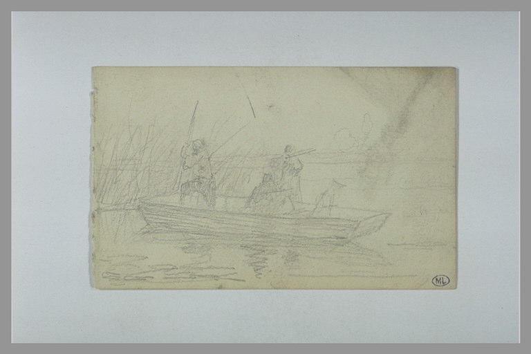 YVON Adolphe : Deux hommes chassant sur une barque