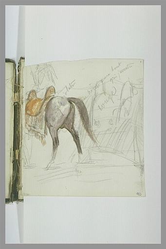 Arrière-train d'un cheval sellé devant une tente (?)