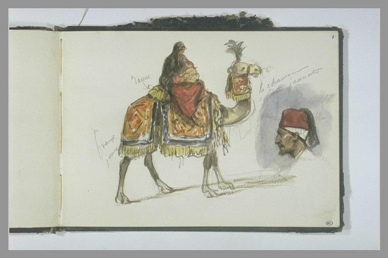 Femme chevauchant un chameau ; tête d'Oriental de profil_0