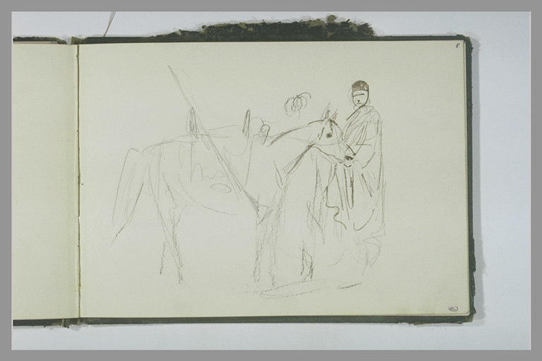 Croquis d'un personnage tenant un cheval par la bride