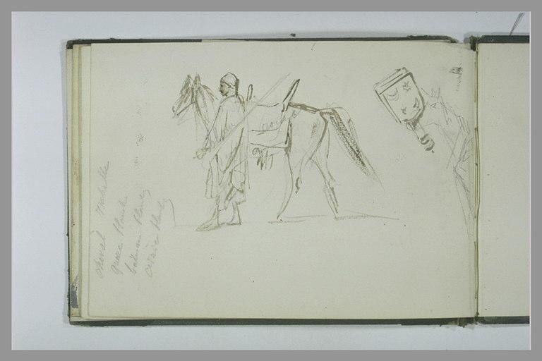 Un homme tenant un cheval par la bride ; croquis et annotations